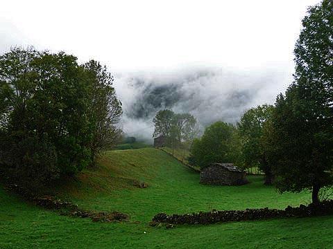 El valle entre niebla