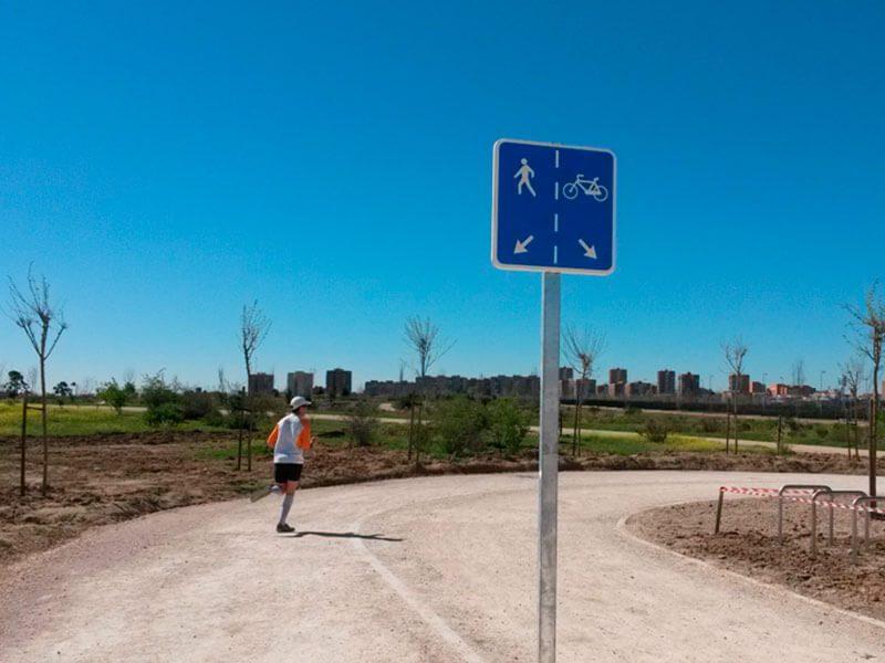 Zona peatonal y zona para bicis