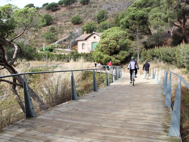 Ciclista por la pasarela