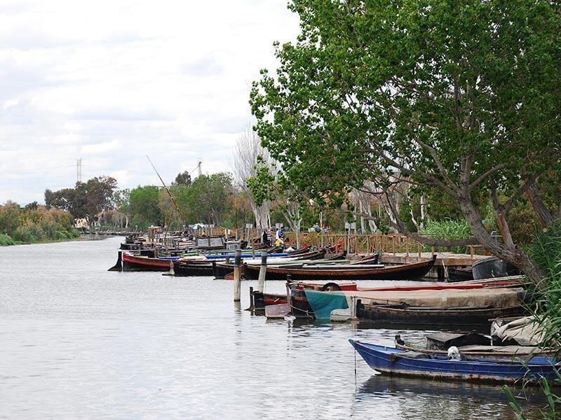 Barcas tradicionales en el puerto de Catarroja