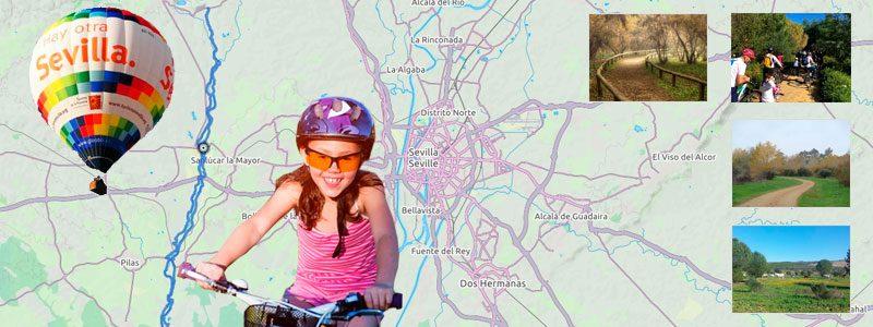 Ruta en bici con niños por Sevilla - Corredor Verde Guadiamar