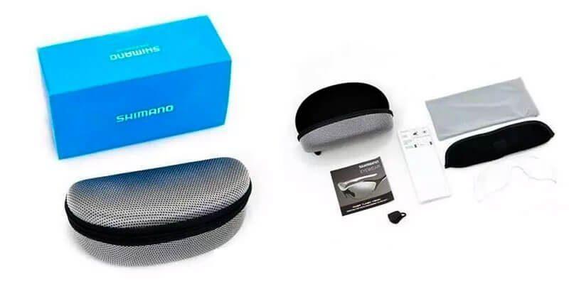 Caja y accesorios de las gafas fotocromáticas Shimano Equinox 3