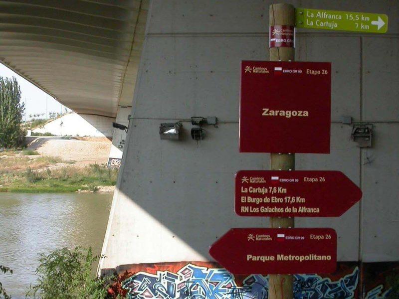Carteles al Inicio de la Ruta en Bici a La Alfranca