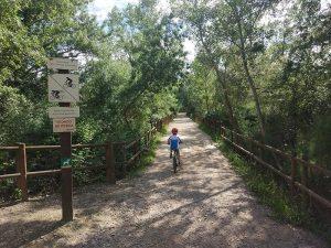 Cruzamos el Galacho de Juslibol en Bici por un puente