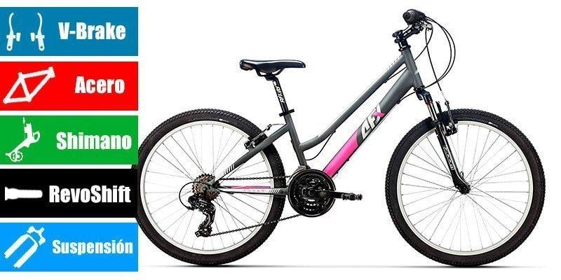 AFX Acero Bicicleta 24 para niña